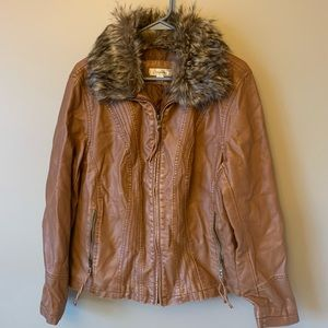 Dressbarn Faux Leather and fur bomber biker jacket
